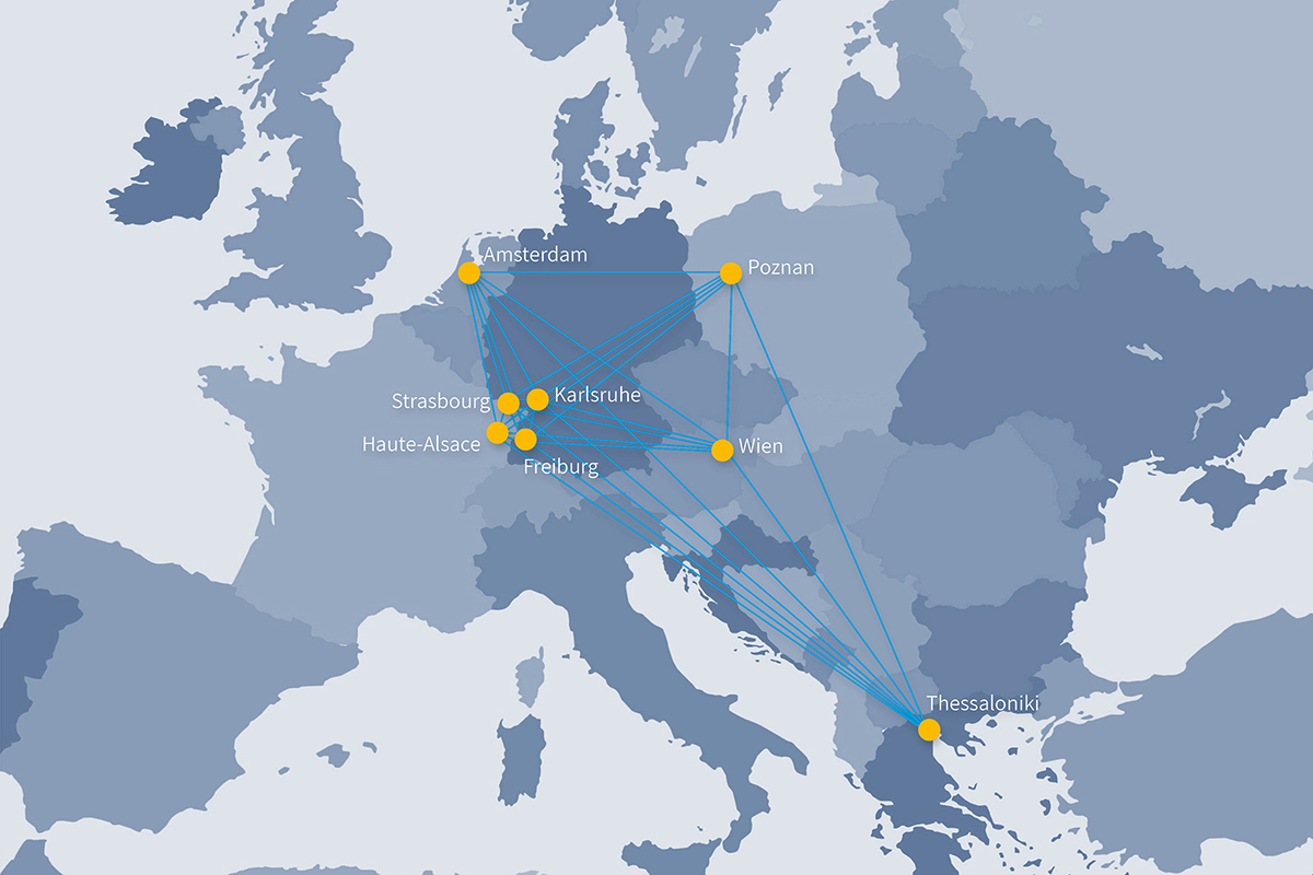 A MAp of Europe with all partner universities within EPICUR.